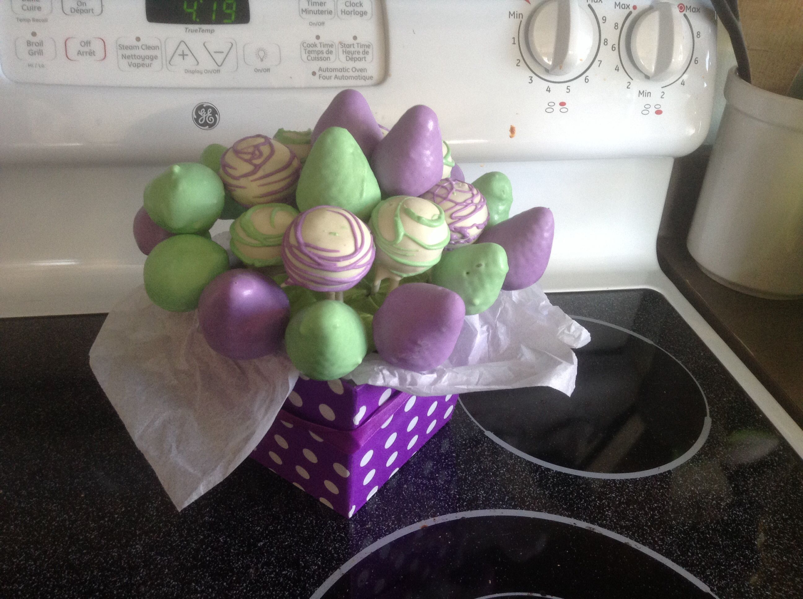 Chocolate covered strawberries and cake pops made for a