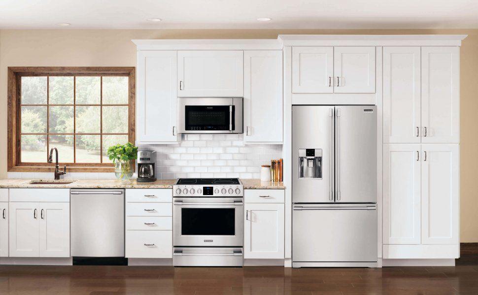 Download Wallpaper White Kitchen With Chrome Appliances