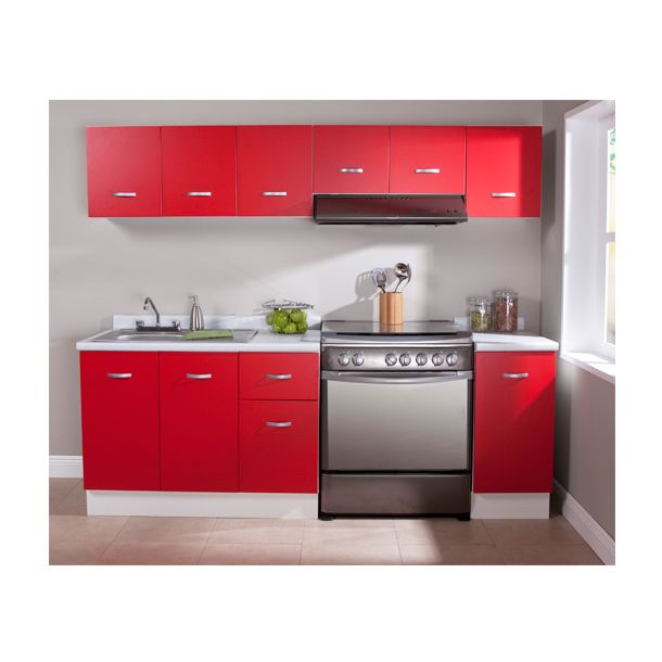 Paquete de cocina roja 2.40 m | Zoclo, Tarja y Alacena