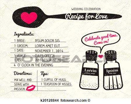 rezept, für, liebe, kreativ, hochzeitskarten Große Clipart Grafik anschauen