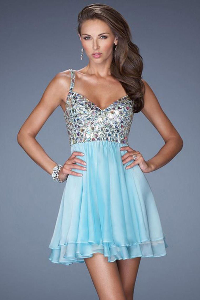2014 Straps V Back Short Prom Dress Beaded Bodice With Tiered ...
