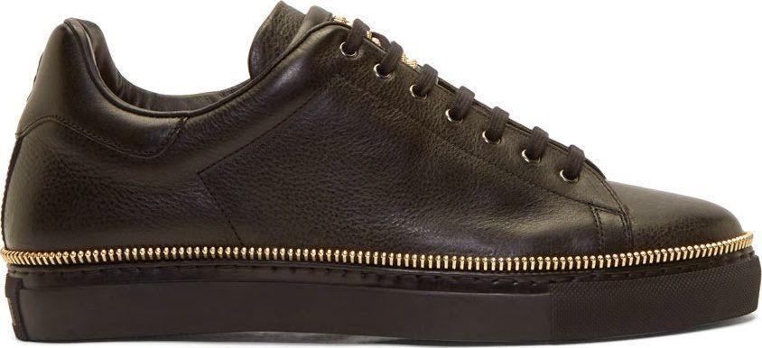 Alexander McQueen Black Leather Gold
