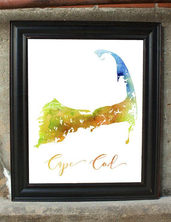 Cape Cod Decor Wall Map Print Art Bedroom