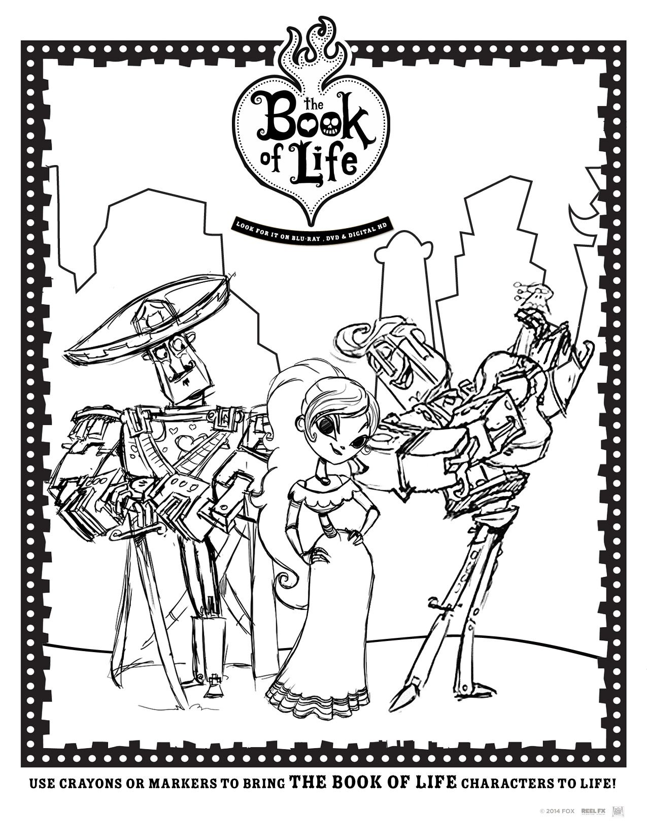 The Book Of Life Activity Printables And Recipes Bolinsiders Book Of Life Book Of Life Movie Coloring Pages