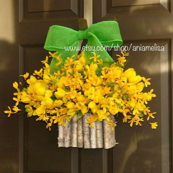 spring summer wreaths forsythia tulips wreath yellow spring wreaths
