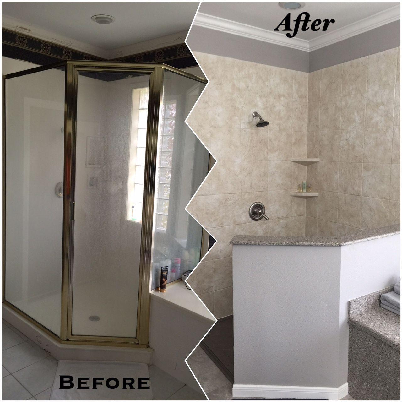 Custom Walk-In Shower with Alpine White Quartz and Rebath ...