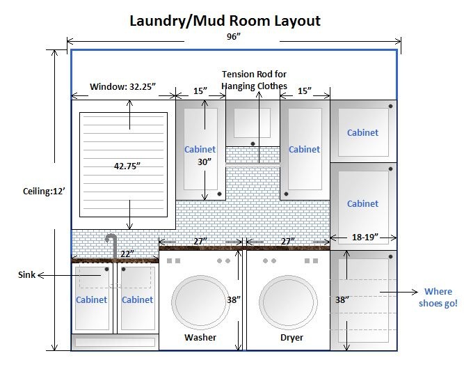 Laundry room design layout this is our laundry mud room for Bathroom sample layouts