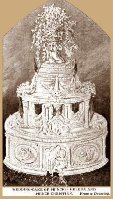 Wedding Cake of Princess Helena and Prince Christian, whose marriage ceremony was performed in the private chapel attached to the Royal apartments at Windsor Castle.  The Queen gave the bride away and a private luncheon was served to members of the Royal Family in the Oak Room; visitors were served a buffet in the Waterloo Gallery.