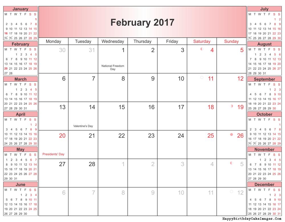 February 2017 Calendar Printable Word PDF Editable with Holidays ...