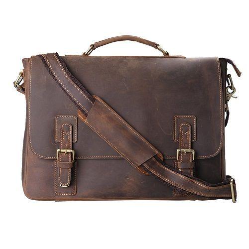 "Men/'s Leather Briefcase Attache 16*5*12/"" Laptop Portfolio Tote Bag Brown"