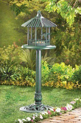Bird Feeder Pedestal Pole Stand Covered Gazebo Hut Yard