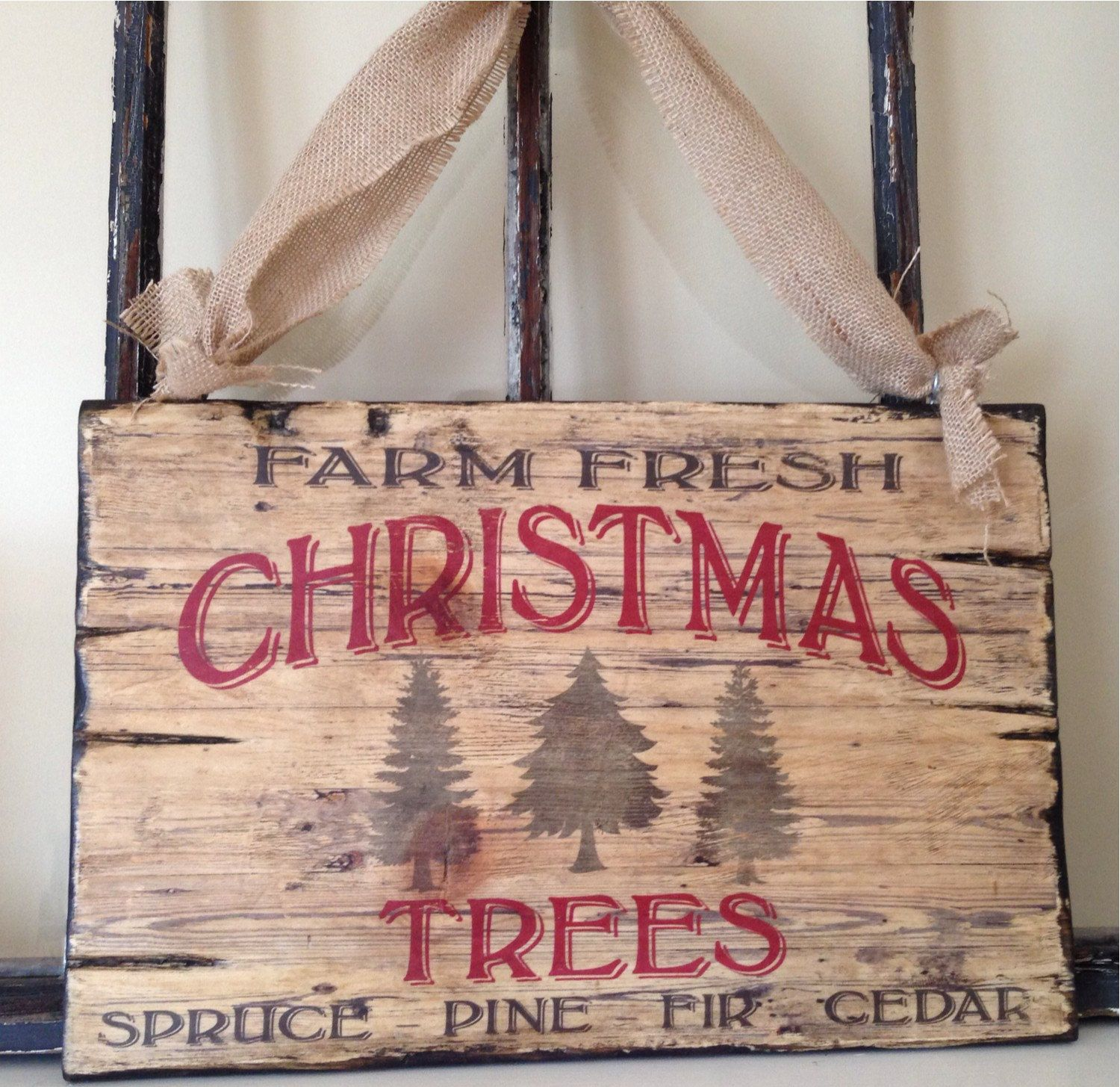 Wooden Christmas Signs Part - 34: Vintage Typography Christmas Tree Wood Sign Art, Holiday Sign; Cottage,  Country Cottage, Rustic Vintage, Can Be Customized