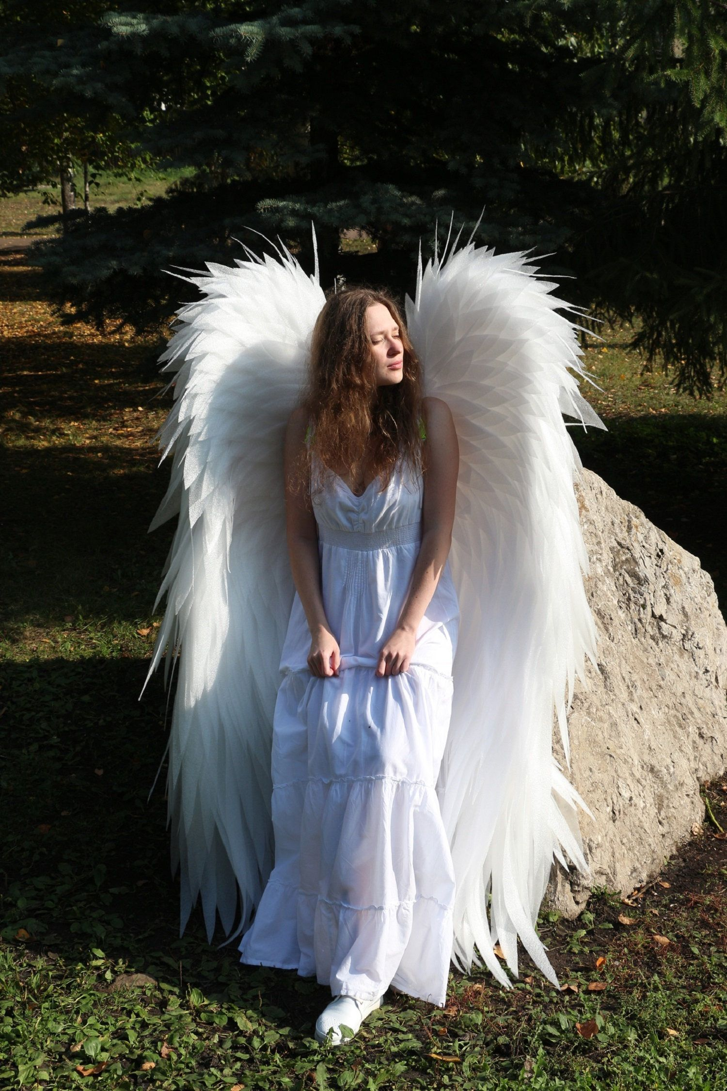 Angel Wing Real Feather Fairy Christmas Masquerade Carnival Cosplay Costume Prop