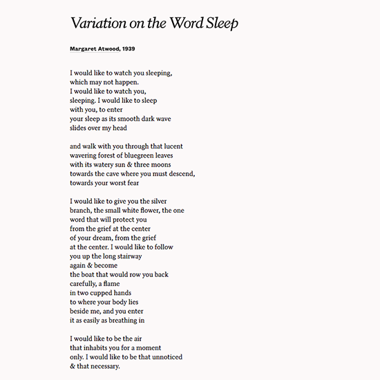 """variations word sleep margaret atwood Posts about margaret atwood written by christina's words  """"variation on the  word sleep"""" by margaret atwood on november 7, 2014 september 18, 2014 by ."""