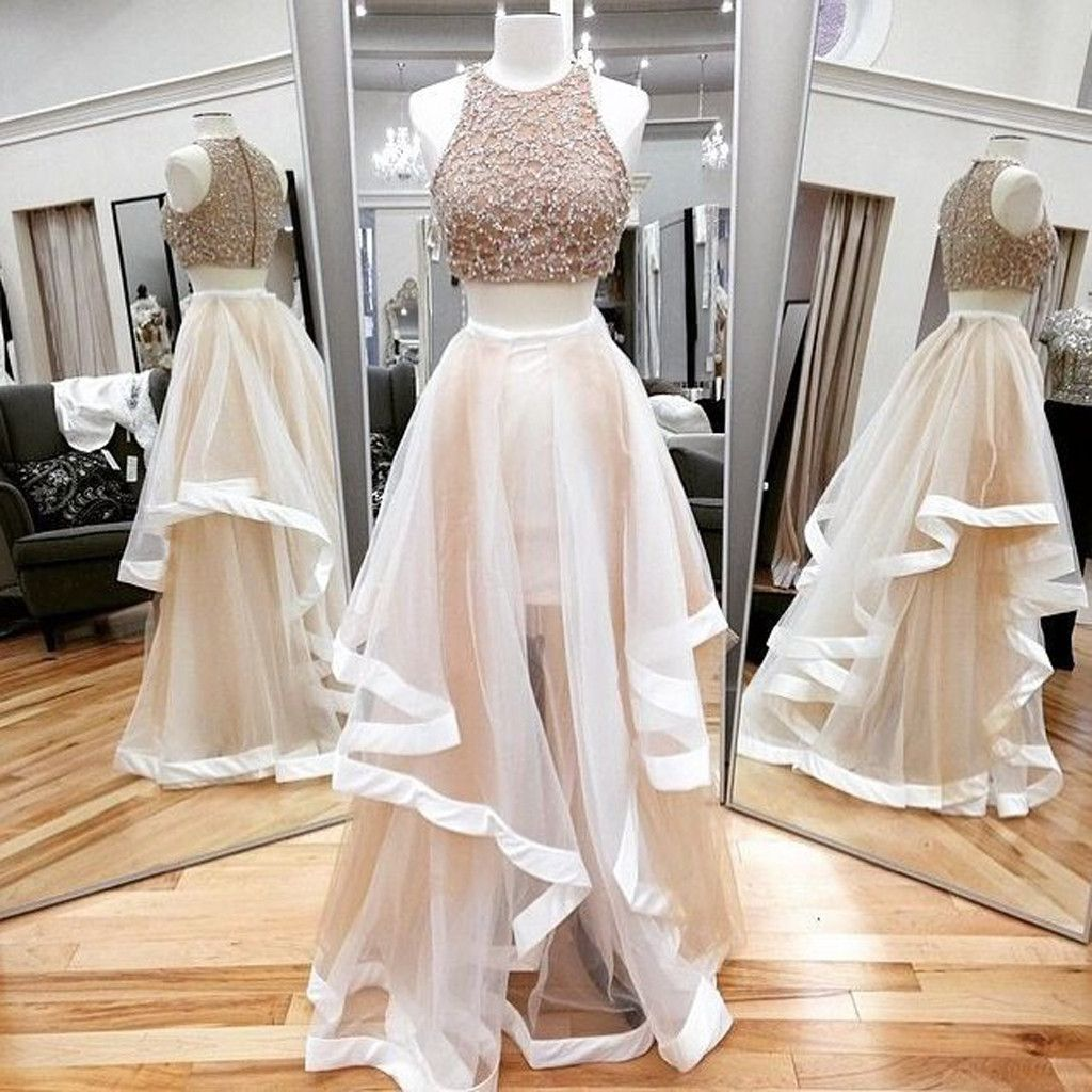 Newest two pieces ruffles ball gown vintage gorgeous sparkly beading