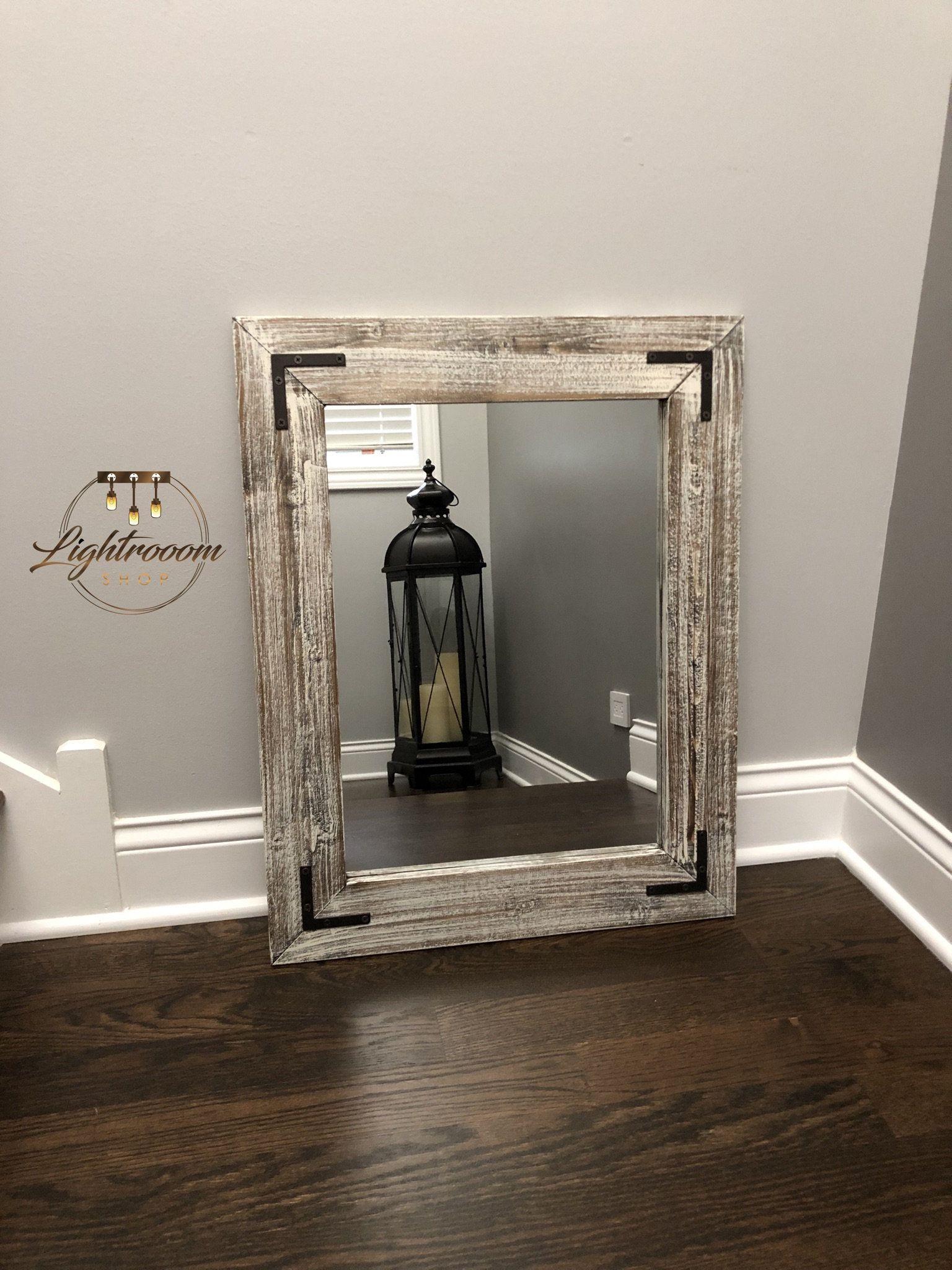Antique white bathroom wood mirror farmhouse decor rustic