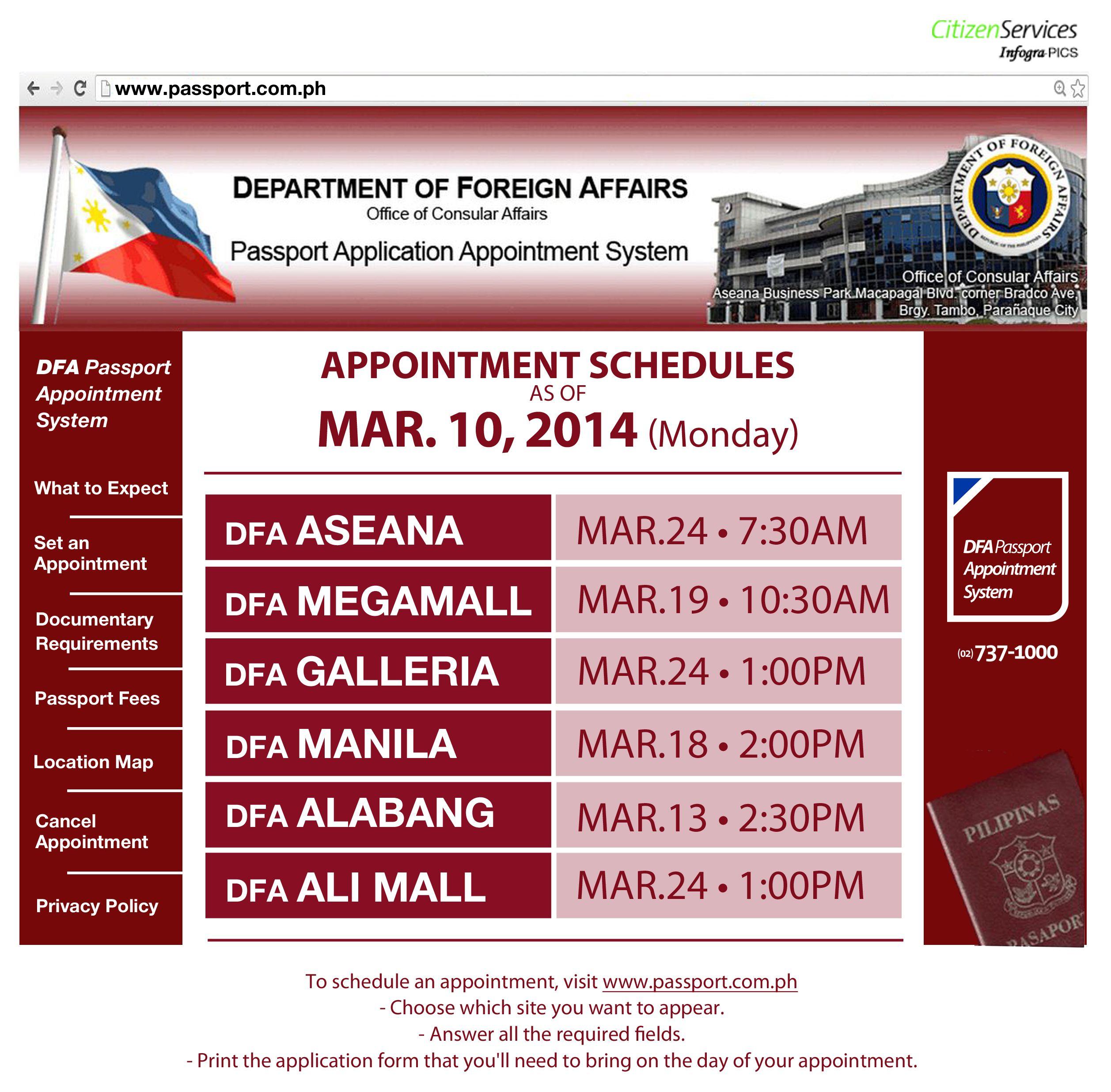 DFA Passport Appointment schedule update: March 10, 2014 #Citizenservices #DFAPassportappointment #Monday
