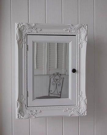 White Wall Bathroom Cabinet In Ornate French Coastal Furniture