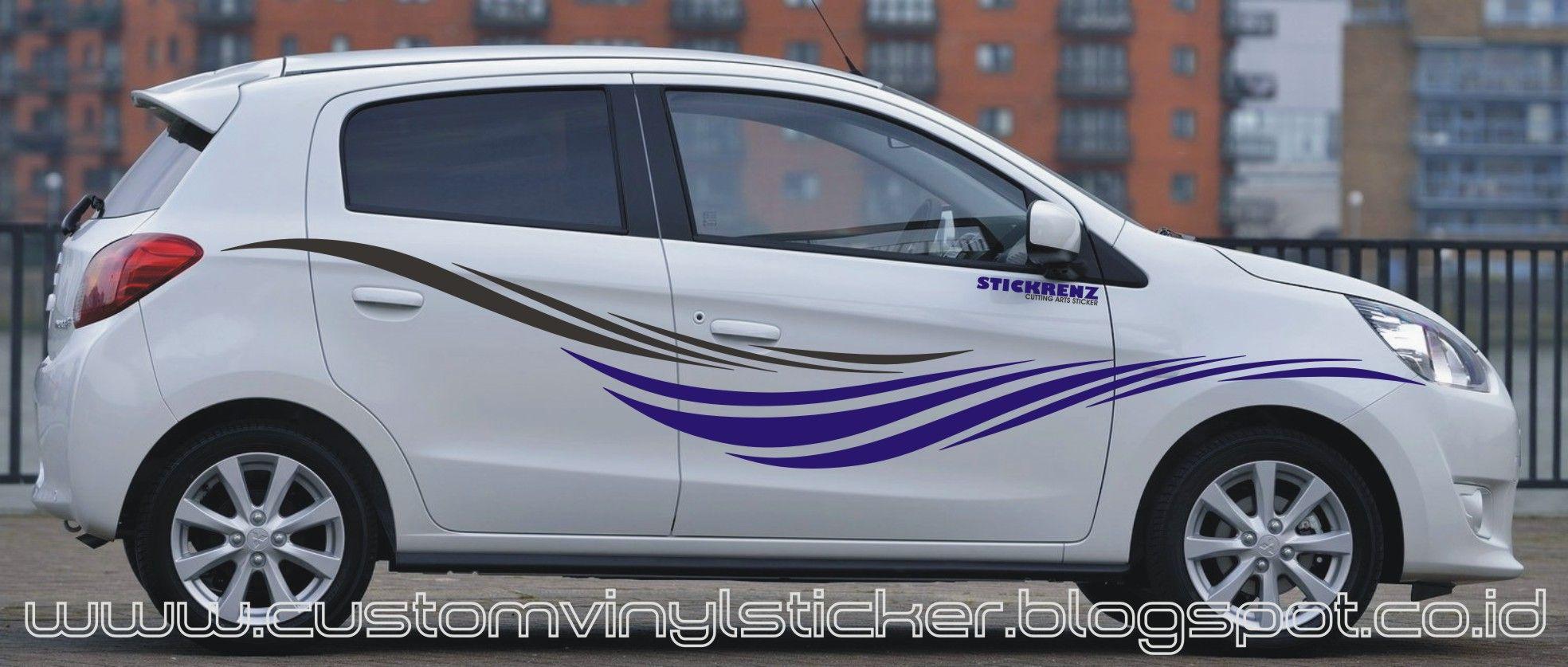 Mitsubishi Mirage White Custom Stripe Sticker Concept - Advocare car decal stickers