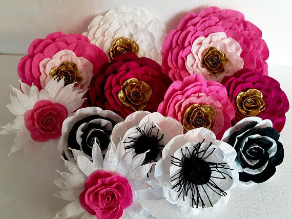 12 Large Paper Flowers Wall Decor Black White Gold Pink Bridal Kate