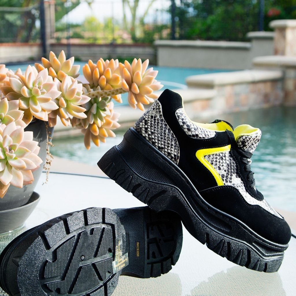 Bamboo Shoes | New Neon Yellow Snake Lace-Up Platform Sneakers | Color: Black/Yellow | Size: Various