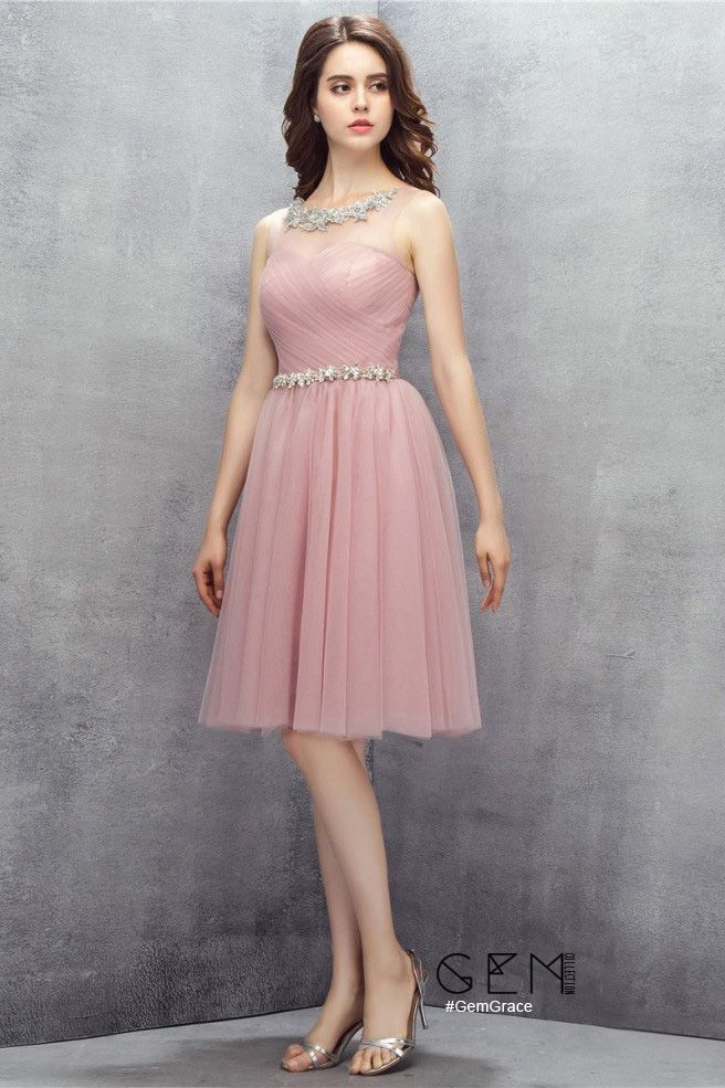 Pleated Pink Tulle Short Party Dress #YH0118 $97 - GemGrace.com ...