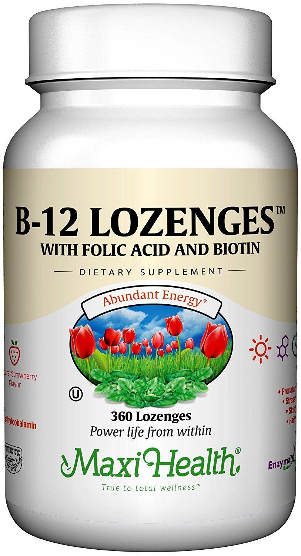 Maxi Health Vitamin B12 Lozenges, Strawberry, 360 Count