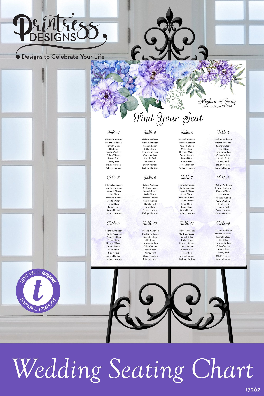 Purple & Blue Floral Wedding Seating Chart, Printable