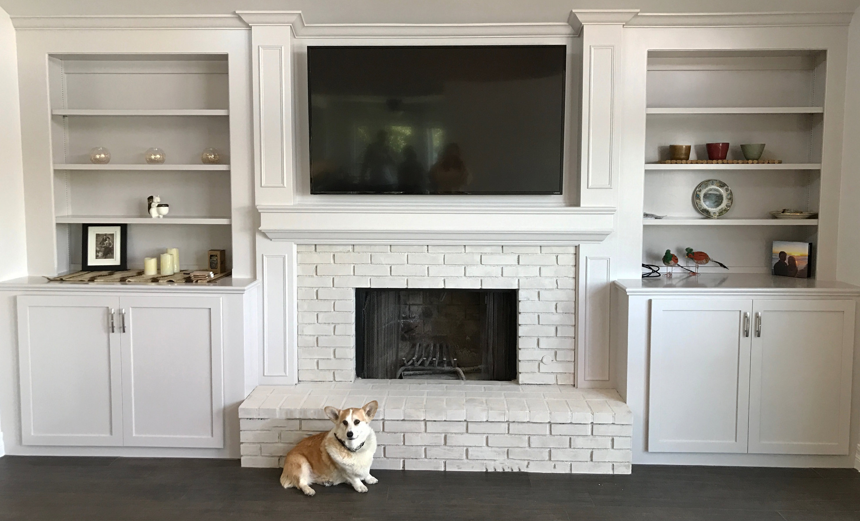 Red Brick Fireplace to White Painted Fireplace Read full tutorial at