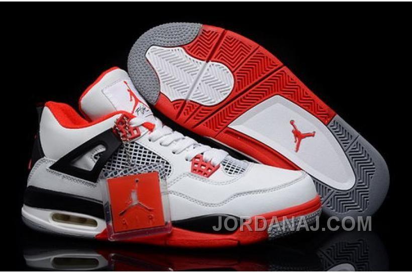 huge inventory 3fddf f38f8 http   www.jordanaj.com hot-nike-air-jordan-4-iv-mens-shoes-white-red-sale.html  HOT NIKE AIR JORDAN 4 IV MENS SHOES WHITE RED SALE Only 83.13  ...