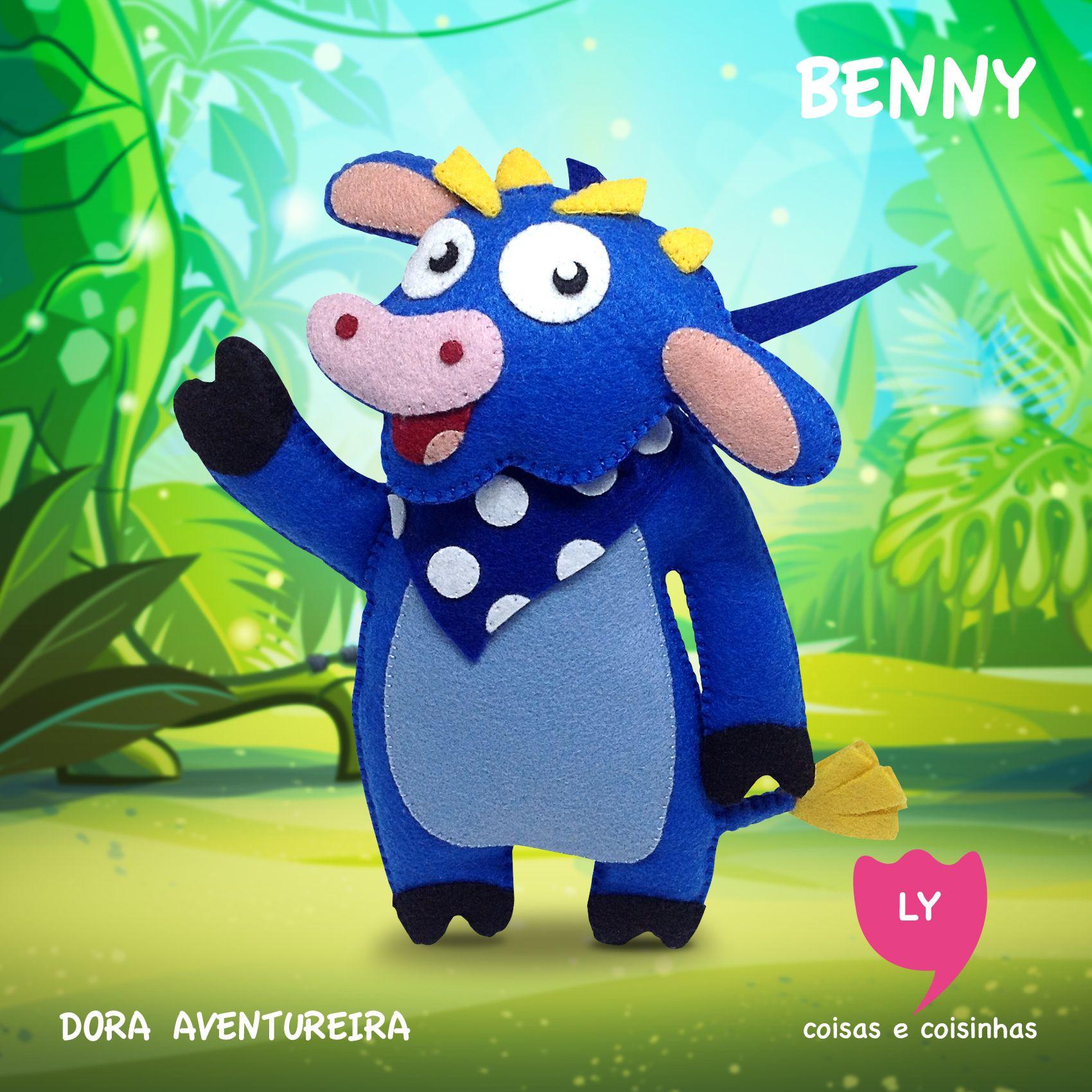 Benny é um Touro amigo da Dora, que mora em um celeiro, adora comer, e muitas vezes faz passeios em um balão de ar quente. Benny, por vezes, fornece Dora com algo que ela precisa em sua busca atual. (Wikipedia) #benny #touro #doraaventureira #feltro #educacional #festainfantil #decoracaofesta #bull #doratheexplorer #felt #handmade #lycoisasecoisinhas