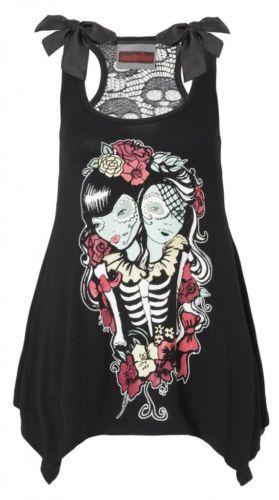 JAWBREAKER Goth Oversized T Shirt SKULL TOP Day of the Dead Roses All Sizes