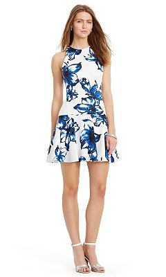 Lauren Ralph Lauren Floral Ponte Drop-Waist Dress Women's Pearl/Port B