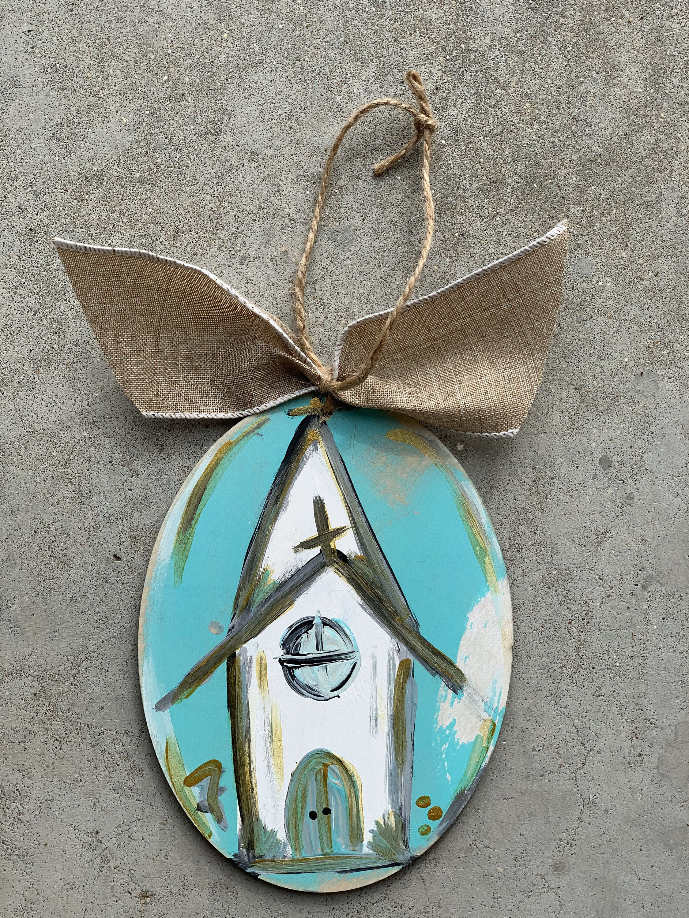 church Christmas ornament // turquoise, white, and gold #churchitems