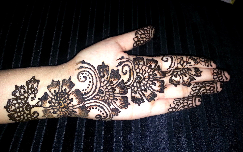 Flower Pattern Mehndi Designs : Arabic floral henna simple flowers fusion style mehndi design