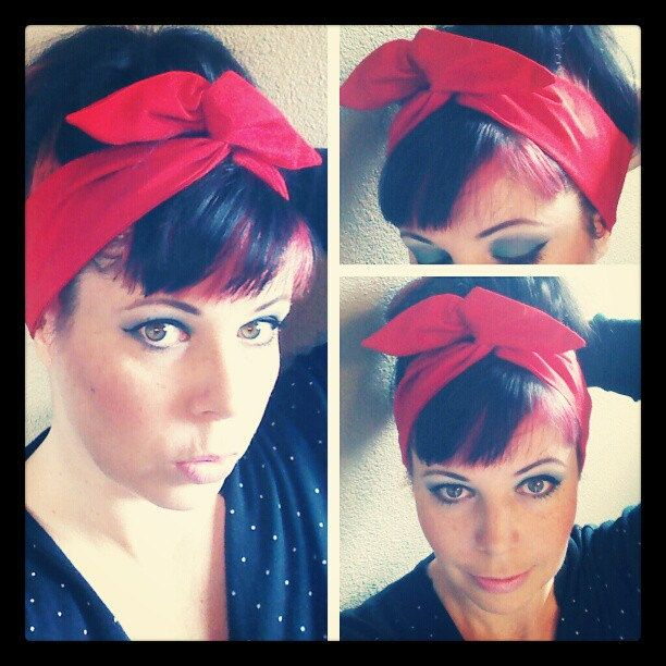 Bright Red Dolly Bow Headwrap Bandana Hair Bow 1940s 1950s Vintage Style  Fabric - Rockabilly - Pin Up - For Women bc1bebec6b9