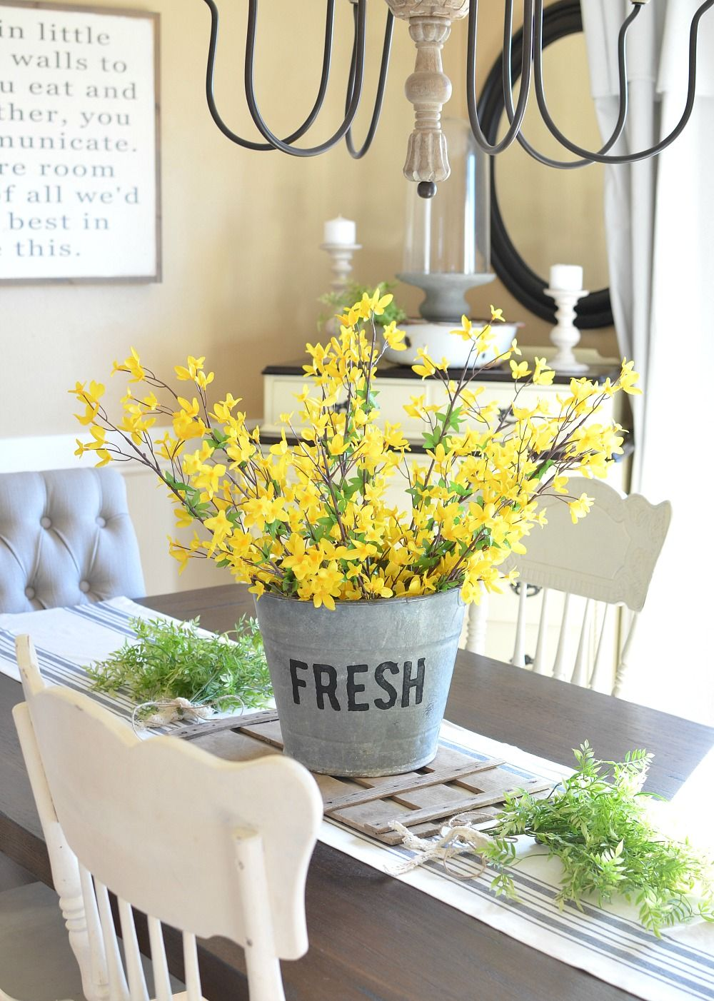 Diy Bucket Of Flowers Spring Centerpiece In 2020 Farmhouse Centerpiece Spring Home Decor Summer Home Decor