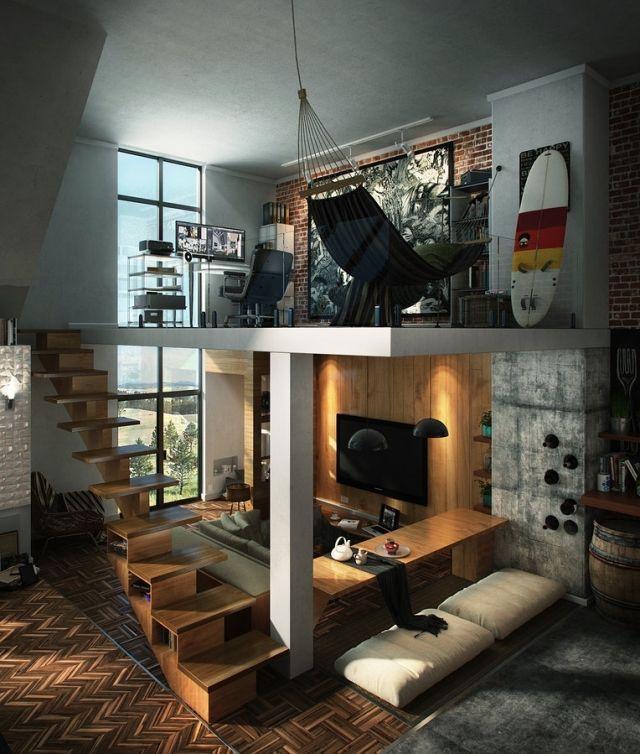 wohnungseinrichtung-ideen-loft-wohn-arbeitsbereich-holz-sichtbeton