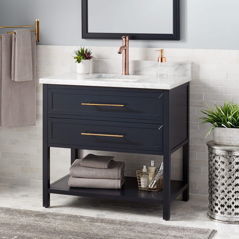36 Robertson Vanity For Rectangular Undermount Sink Navy Blue In 2020 Blue Bathroom Vanity Small Bathroom Decor Single Bathroom Vanity