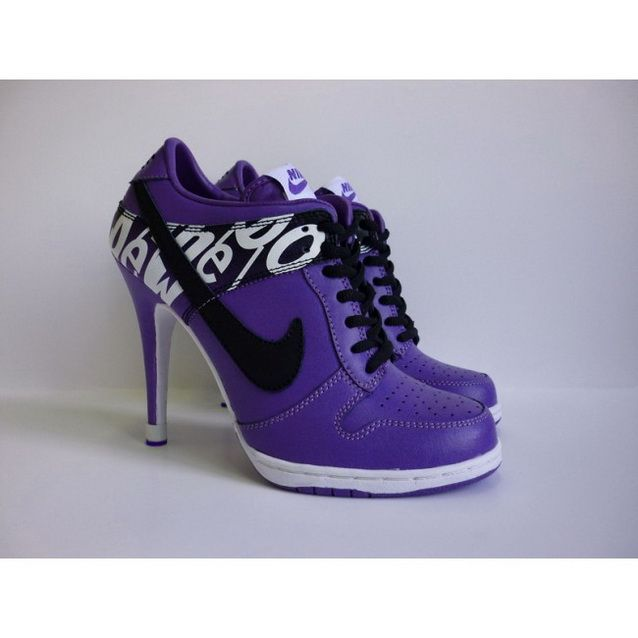 Women Nike Dunk SB Low Heels Purple Black White  1598b12d4