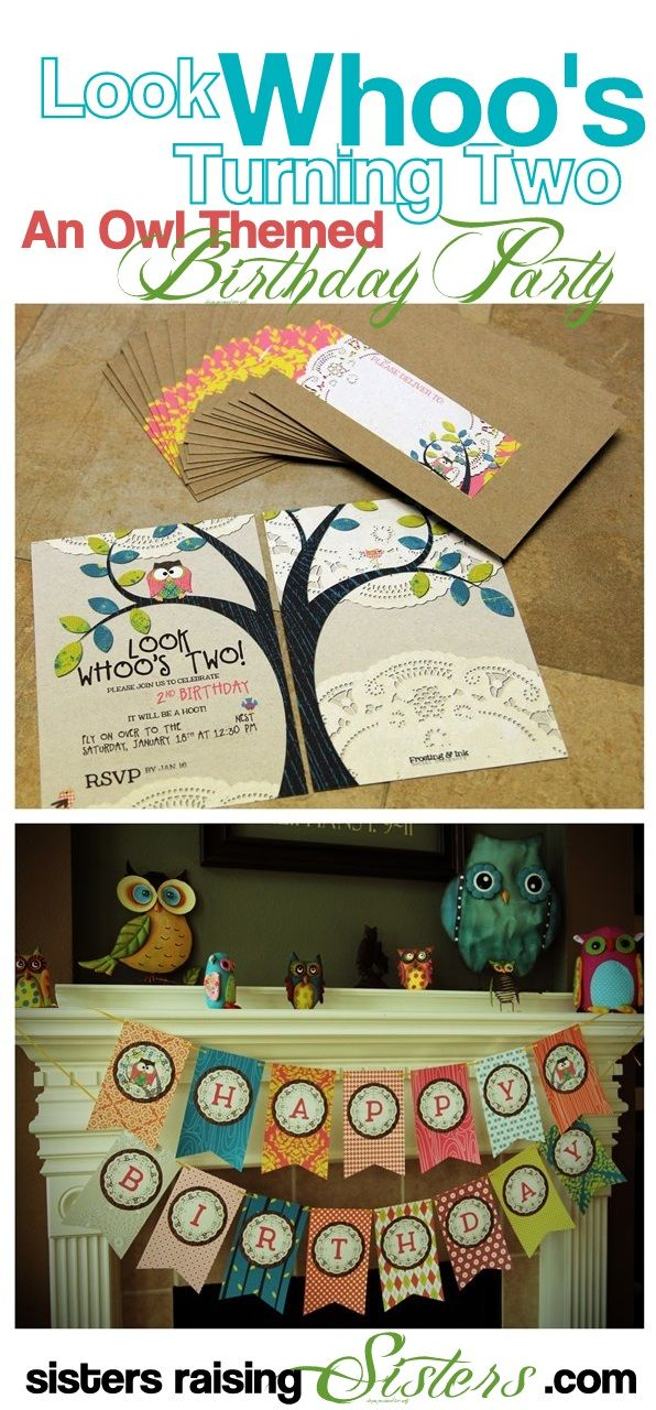 Look Whoos Turning Two Owl Themed Birthday Party from Sisters