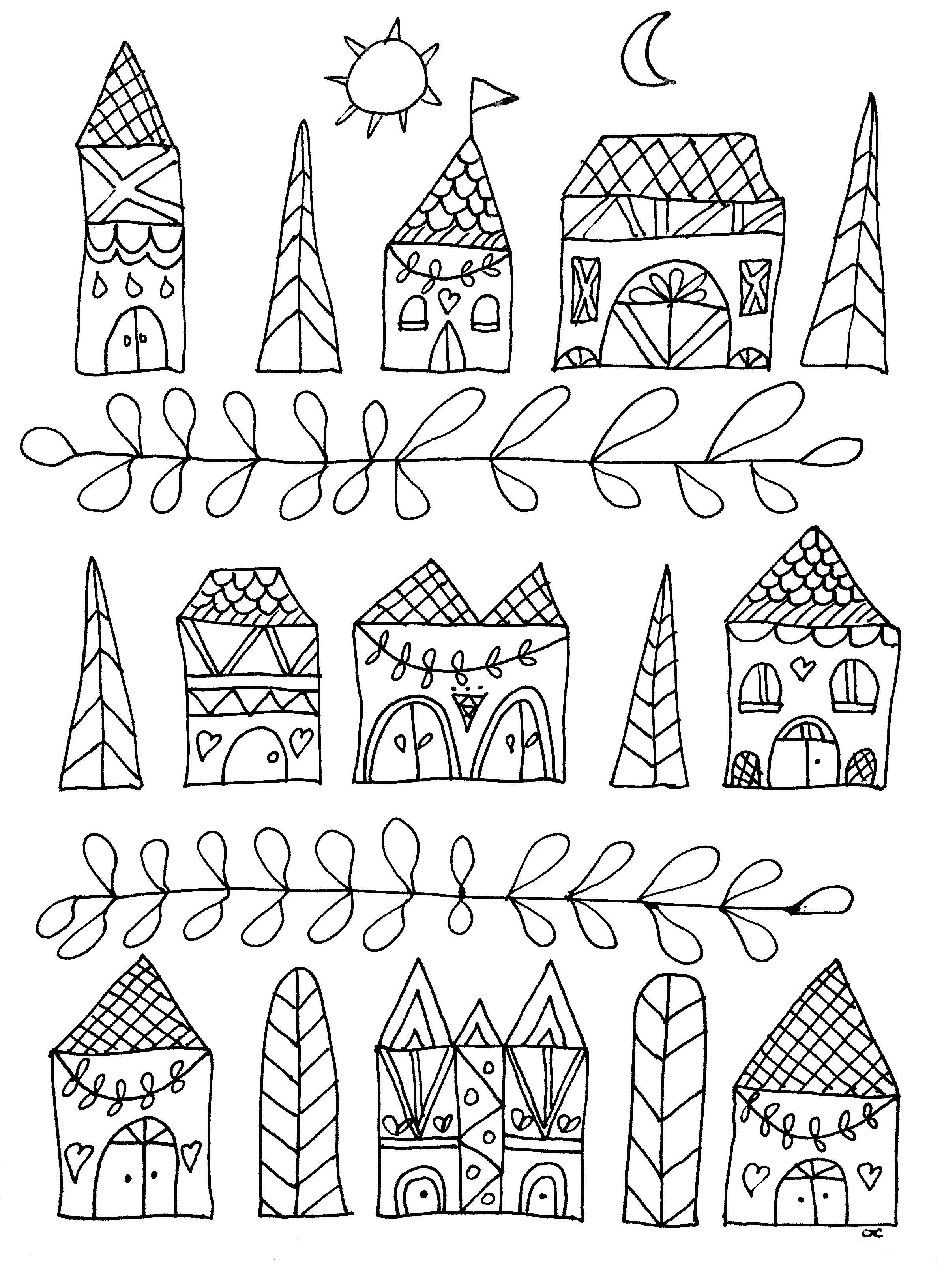 Simple houses Zen and Anti stress Coloring Pages for