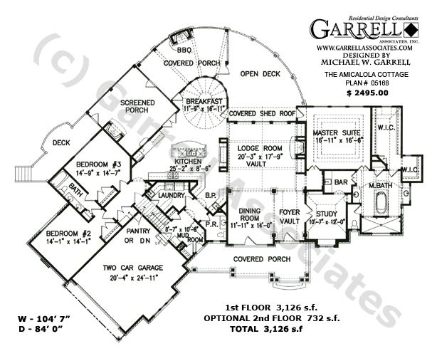 Amicalola Cottage 05168, 1st Floor Plan, Rustic House Plans ...