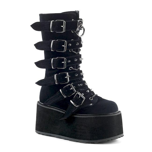 Velvet Platform Wedge Ankle Boots