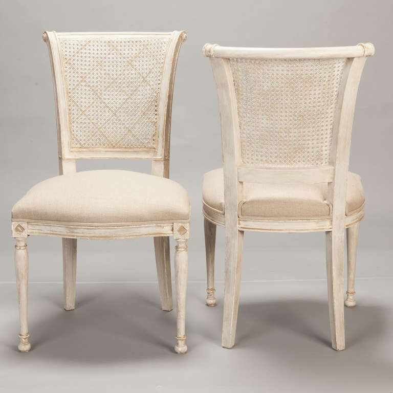 Set Of 12 French Cane Back Antique White Dining Chairs Image 3