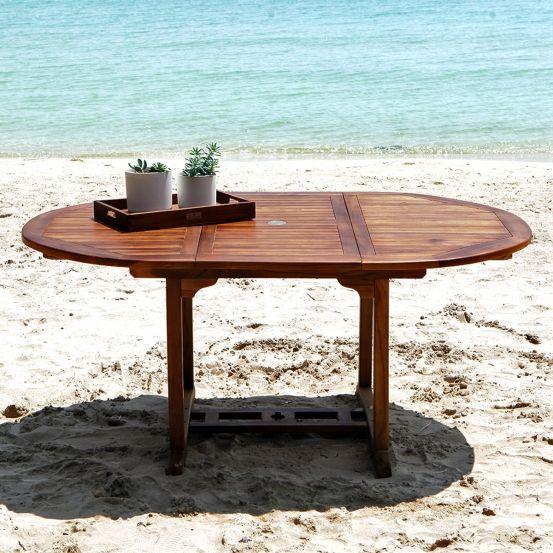Table de jardin ovale en teck huilé 6/8 places BALI | Table ...