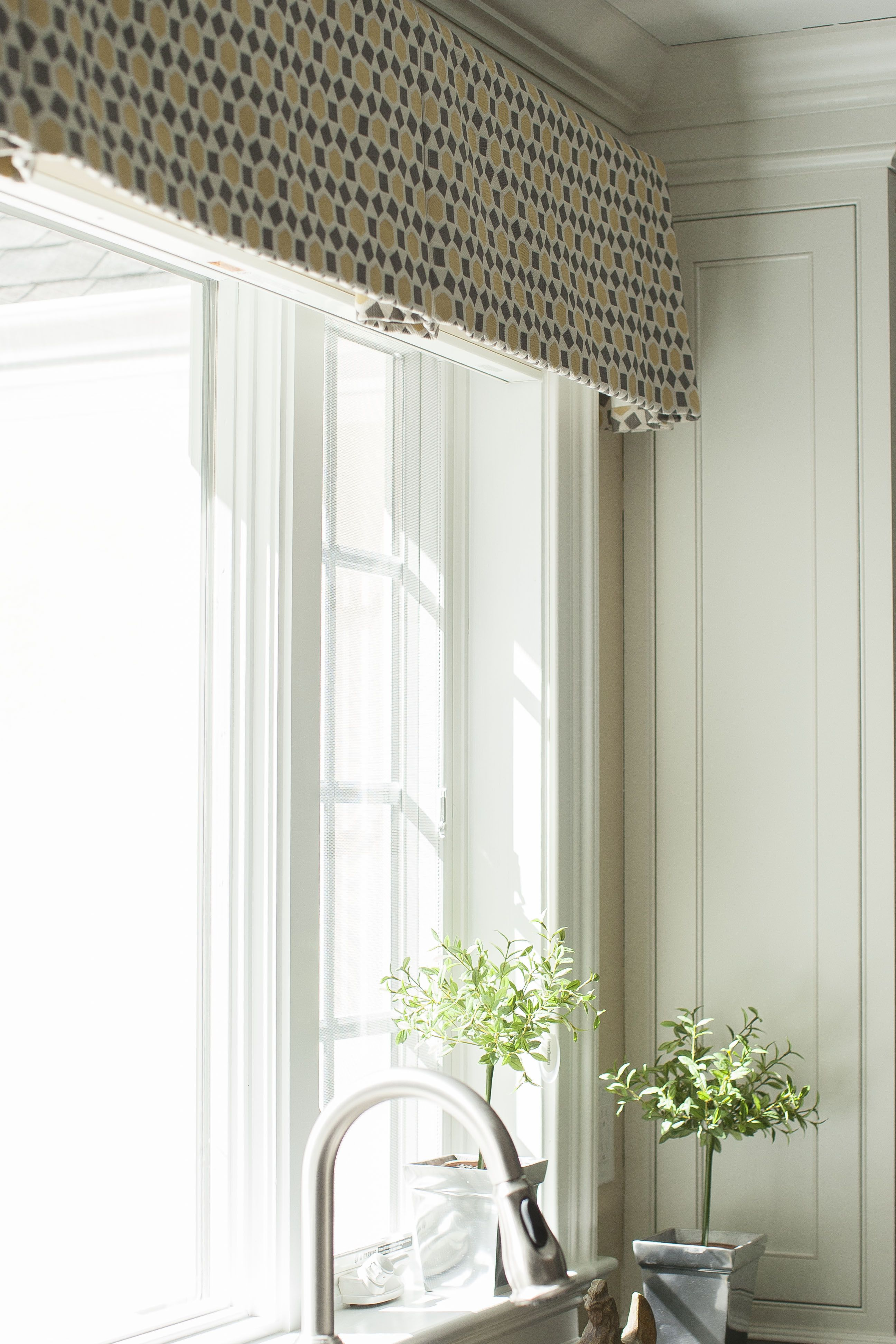 Kitchen window curtain  Bright cheery kitchen window valance in small gray and yellow