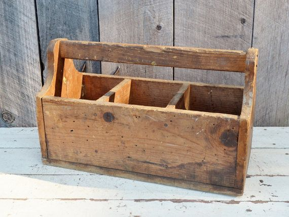 Vintage Wooden Tote Divided Caddy Three by RelicsAndRhinestones