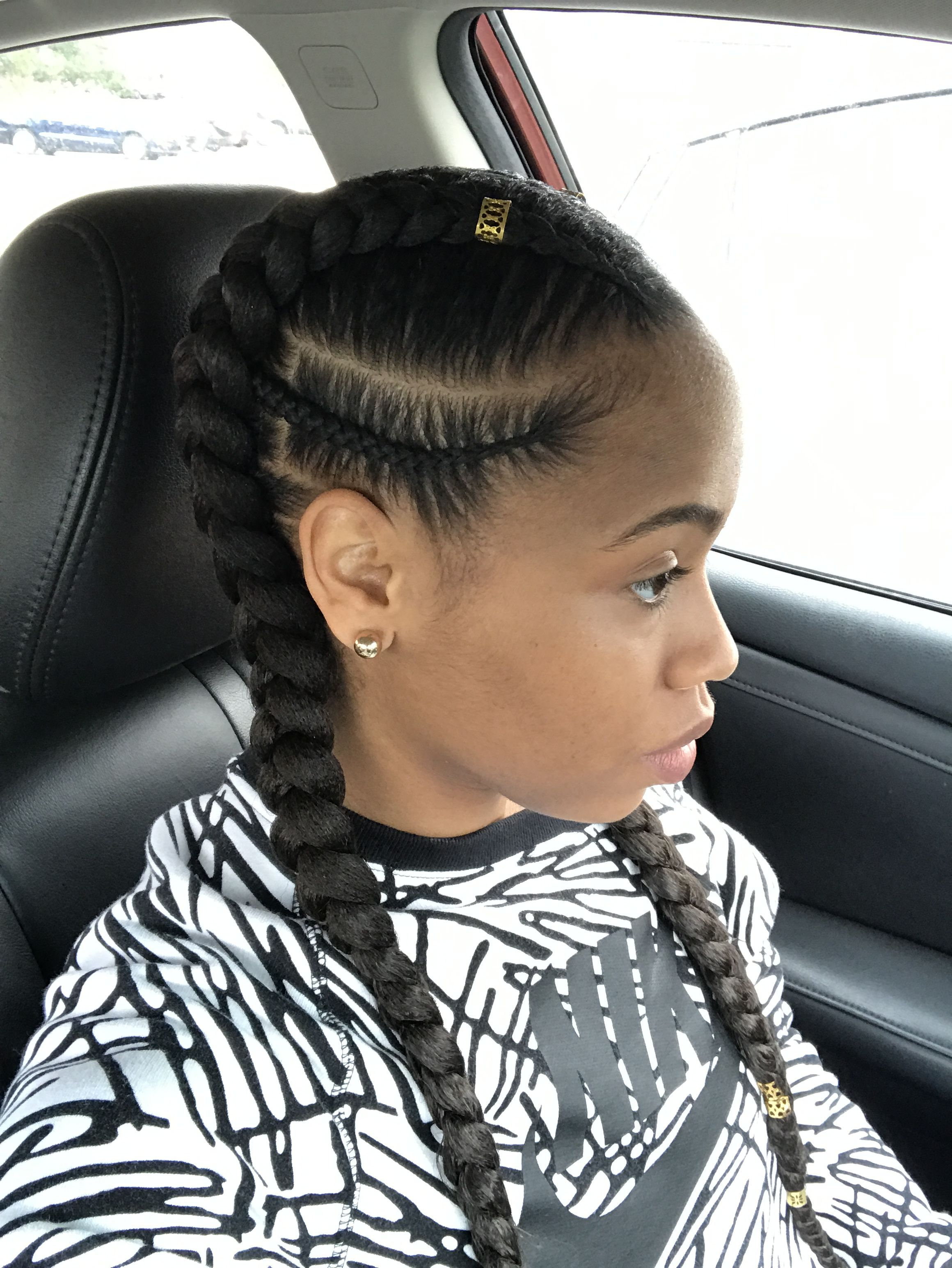 2 In 1 Feed In Natural Hair Styles Braids For Black Hair Hair