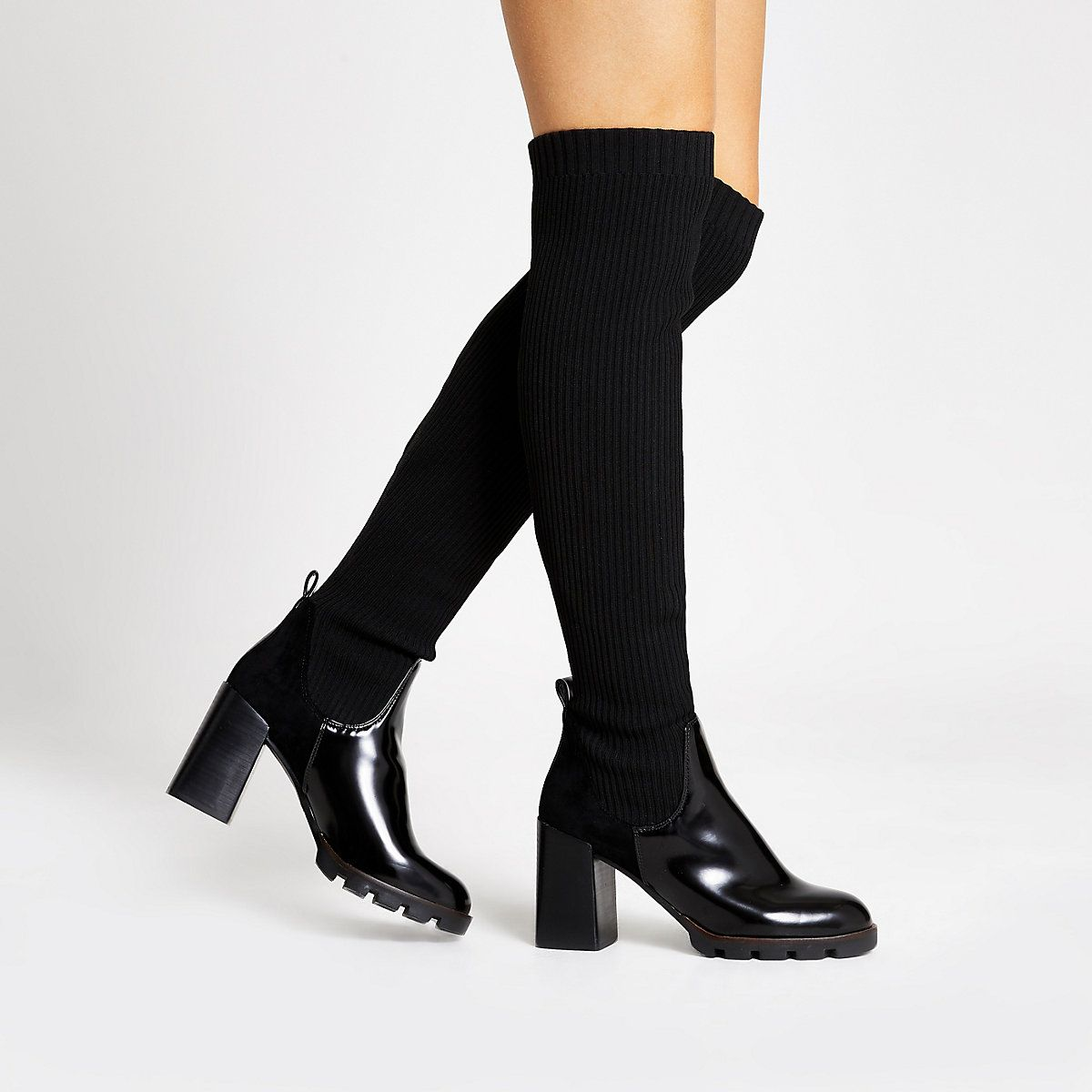 Black over the knee ribbed sock boots